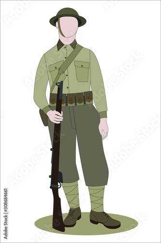 Tela WW1 British Army Soldier from France 1918, on white