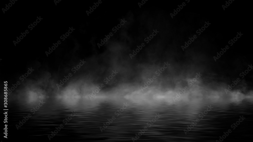Fototapeta Mystery coastal fog . Smoke on the shore . Reflection in water. Texture overlays background. Stock illustration. Design element.