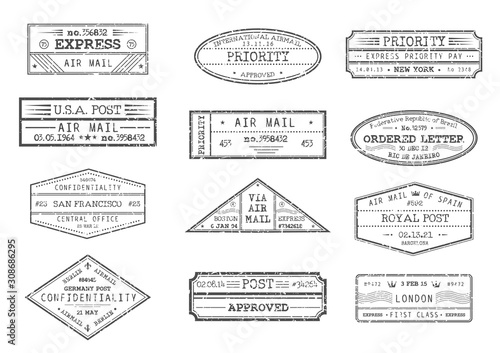 Fotografia  Airmail postage and post office stamps with city and date, vector icons