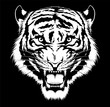 Black and white roaring tiger head