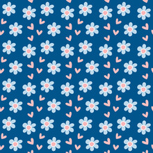 Girly Seamless Pattern With Flowers And Hearts. Repeated Floral Print. Vector Illustration.