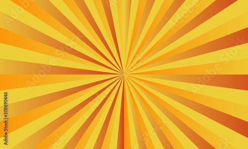 Obraz Yellow sunshine vector background. Abstract sunburst design for template website. Banner business social media advertising. comic backdrop. colorful wallpaper - fototapety do salonu