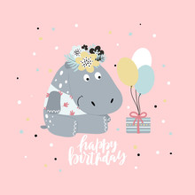 Greeting Card With Cute Hippop...
