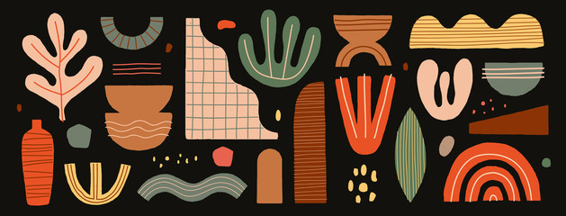 Collection of abstract graphic forms on a dark background. Minimalist element...