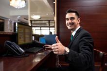 Hotel Receptionist Being Happy...