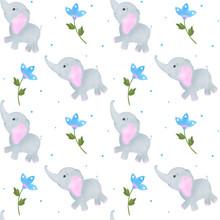 Elephant Cute Little Watercolo...