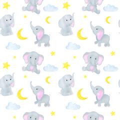 Elephant cute little watercolor seamless pattern childish illustration
