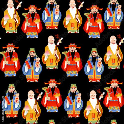 The Sanxing. Three Chinese lucky gods: God of Longevity (Shou), Prosperity (Lu) and Fortune (Fu).  Seamless background pattern. Fototapete