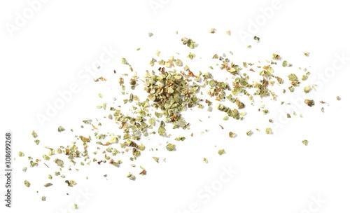 Obraz Dry marjoram leaves isolated on white background - fototapety do salonu