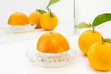 Naranjas Enteras Y Cortadas Co...