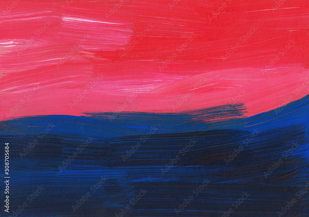 Fototapeta Abstract background painting, blue, red, pink texture. Oil multicolored brush strokes on paper. Modern art.