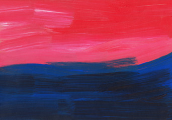 Abstract background painting, blue, red, pink texture. Oil multicolored brush strokes on paper. Modern art.