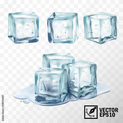 3d realistic vector transparent ice cubes in different forms, melting ice cubes in a puddle of water Wall mural