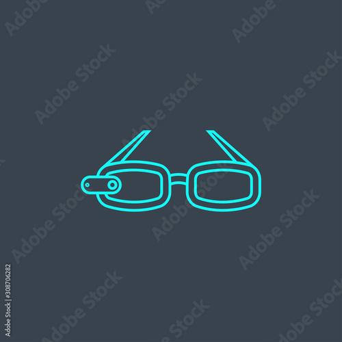 Photo AR glasses concept blue line icon