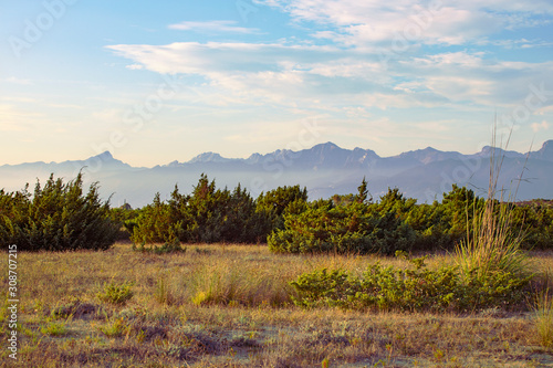 Scenic landscape with mountain range in background Canvas Print
