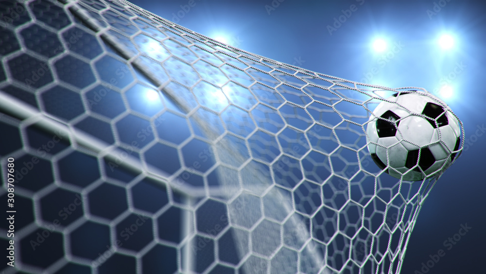 Fototapeta Soccer ball flew into the goal. Soccer ball bends the net, against the background of flashes of light. Soccer ball in goal net on blue background. A moment of delight. 3D illustration