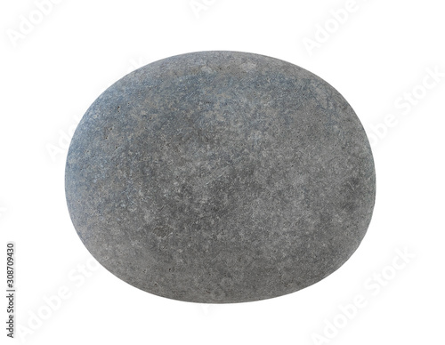 Grey stone pebbles, isolated on white background - 308709430