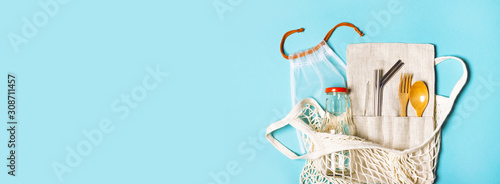 Fotografia Banner with set of reusable items for an eco-friendly lifestyle