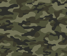 Camouflage Pattern Seamless Green Vector Print.
