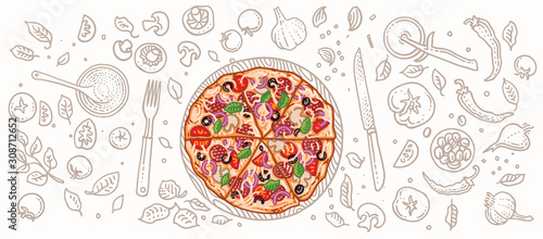 Fototapeta Pizza and pizza related elements illustration. Vector, isolated, layered.  obraz