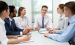 International business team discuss a new project
