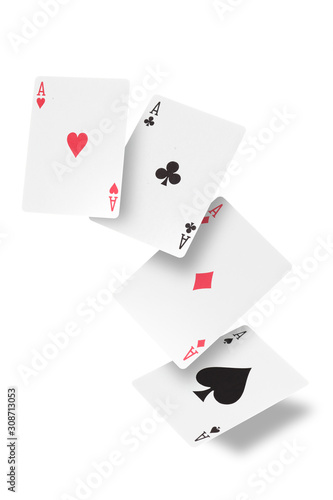 poker of aces isolated on white background with  clipping path and copy space fo Wallpaper Mural
