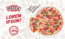 Pizza Card/menu/flyer/banner Template. Vector. Text Outlined And Only For Preview