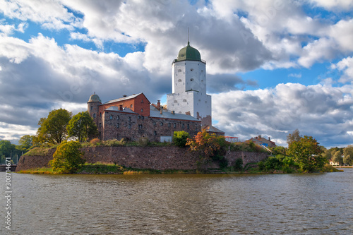 Fotografiet Beautiful view of the Vyborg Castle in sunlight in HDR processing, Vyborg, Lenin