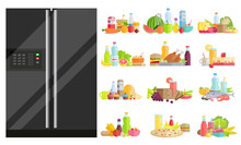 Refrigerator With Food Set. Isolated Fridge With Dietary Dishes. Vegetables And Fruits With Water Bottle. Meat And Diary Products. Bread And Juices For Healthy Lifestyle And Diet Nutrition Vector