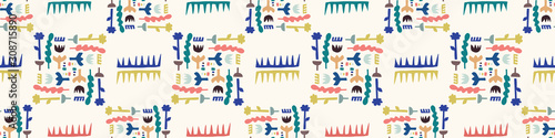 Valokuva  Abstract Cut Out Shapes Border Pattern Seamless Background, Hand Drawn Matisse Style Collage Graphic Illustration for Modern Fashion Border Trim, Playfull Kids Washi Tape Edging