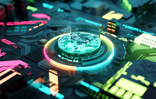 Multicoloured Futuristic CPU And Processor, Quantum And Machine Learning Concept. 3D Illustration Concept.