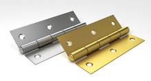 Silver And Golden Door Hinges. 3D Illustration.