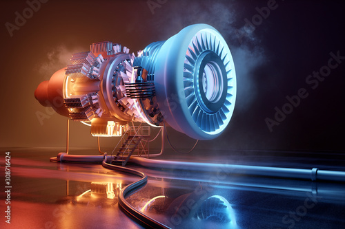Photo Futuristic jet engine technology background