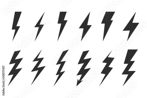 Obraz Thunder and bolt lighting elements. Flash icons set. Elestric blitz. Vector thunderbolt on white background - fototapety do salonu