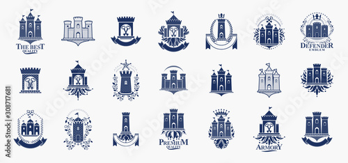 Fényképezés Castles logos big vector set, vintage heraldic fortresses emblems collection, classic style heraldry design elements, ancient forts and citadels