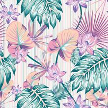 Winter Tropical Pattern Seamle...