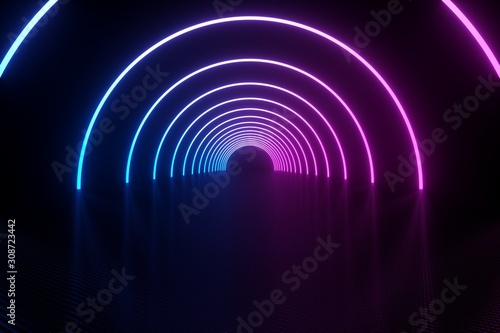 3d illustration, glowing lines, tunnel, neon lights, virtual reality, abstract background - 308723442