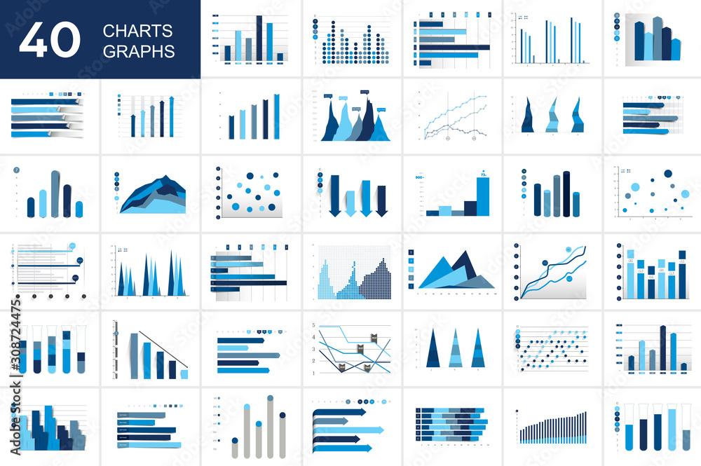 Fototapeta Big set of charst, graphs. Blue color. Infographics business elements.