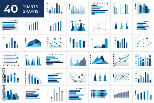 Big set of charst, graphs Canvas Print