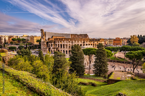 Beautiful Daylight Colosseum in Rome, cloudy, Italy Tablou Canvas