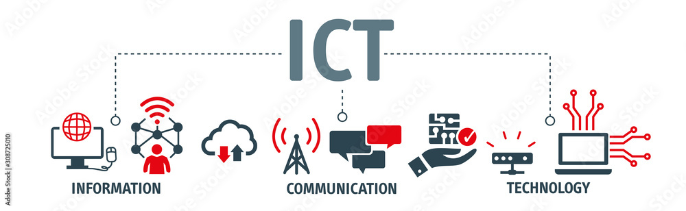 Fototapeta Information and Communications Technology concept with icons
