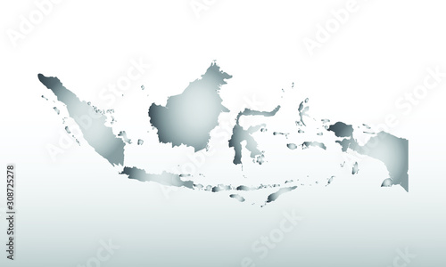 Gray color Indonesia map with dark and light effect vector on light background i Wallpaper Mural