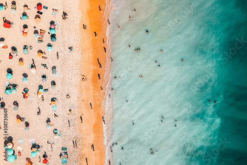 Fotomural People Crowd On Beach, Aerial View In Summer