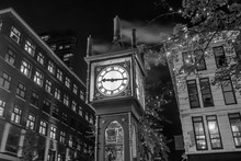 Old Steam Clock In Vancouver's Historic Gastown District At Night