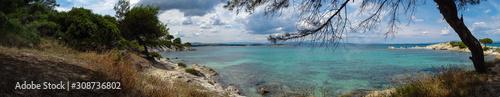 Fotografie, Tablou  Seaside in Greece with beautiful rocks, Halkidiki, Vourvourou,panorama