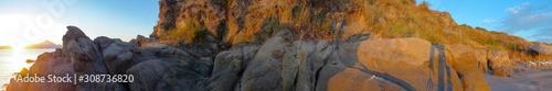 Fototapeta  Seaside in Greece with beautiful rocks, Halkidiki, Sarti,panorama