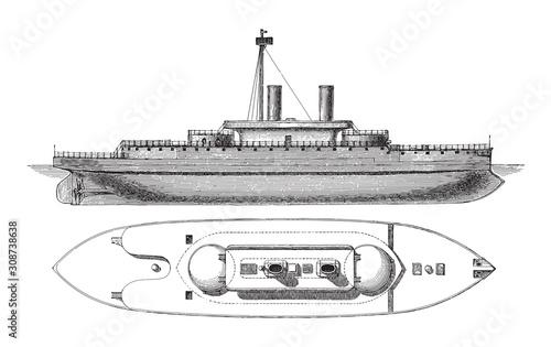 Photo Devastation battleship (England) / vintage illustration from Meyers Konversation