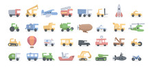 Vector Cartoon Transport For Kids. Fuuny Drawing Cars For Play And Education