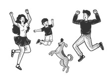 Happy Jumping Dancing Family W...