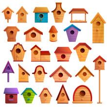 Bird House Icons Set. Cartoon ...